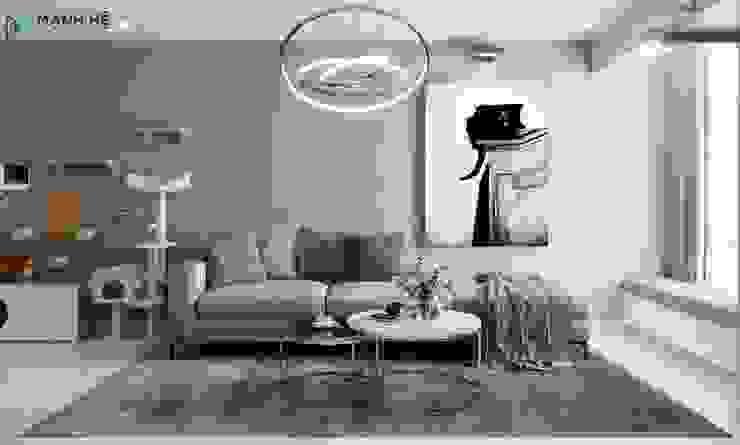 Không gian phòng khách ấm cúng bởi Công ty TNHH Nội Thất Mạnh Hệ Hiện đại Đá hoa cương