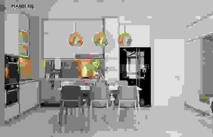 Không gian ăn uống rộng rãi với bàn ăn 6 người bởi Công ty TNHH Nội Thất Mạnh Hệ Hiện đại Đá hoa