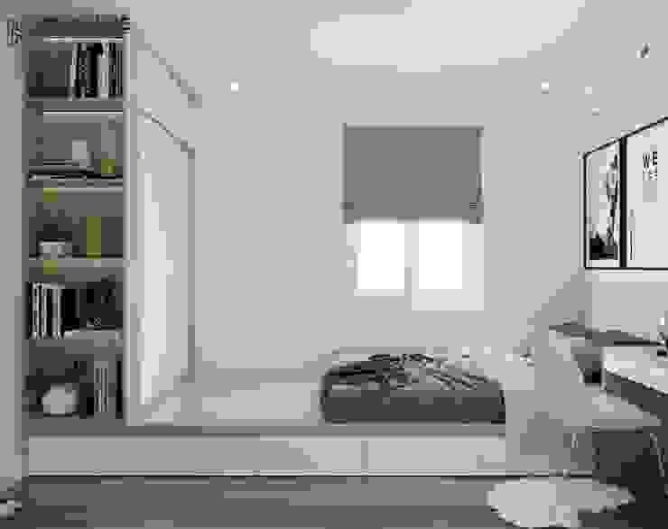 Phòng ngủ được trang trí đơn giản, tinh tế bởi Công ty TNHH Nội Thất Mạnh Hệ Hiện đại Cao su