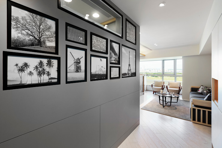 河岸對話 現代風玄關、走廊與階梯 根據 拾雅客空間設計 現代風 合板