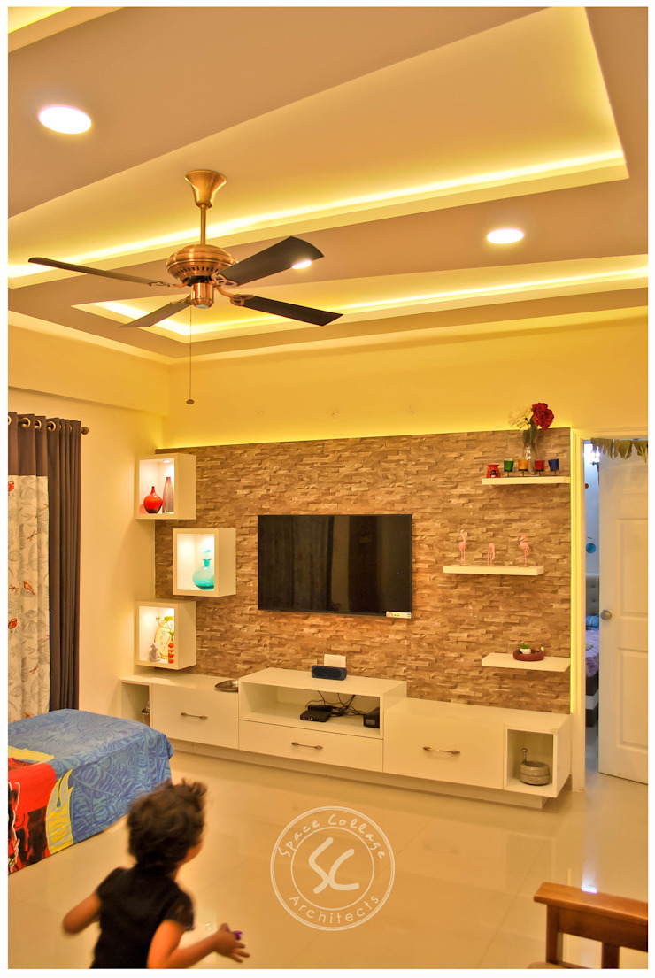 Living Room False Ceiling Partition Tv Unit Designs Space Collage Modern Living Room Homify