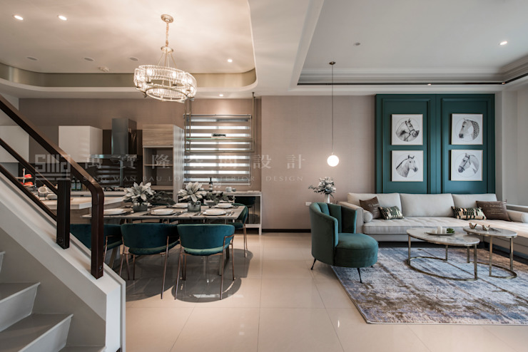 【良勳建設-蕾夢湖/暮映連心】 现代客厅設計點子、靈感 & 圖片 根據 SING萬寶隆空間設計 現代風
