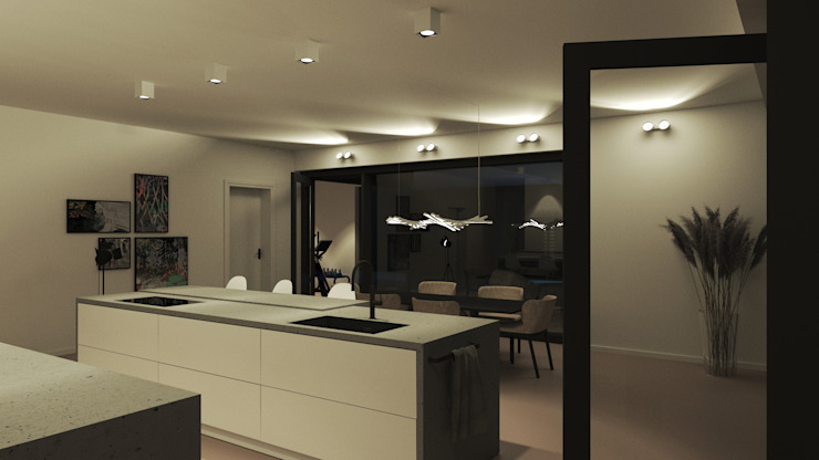 Einfamilienhaus (Projekt 259) Karl Kaffenberger Architektur | Einrichtung Einbauküche Beton Weiß