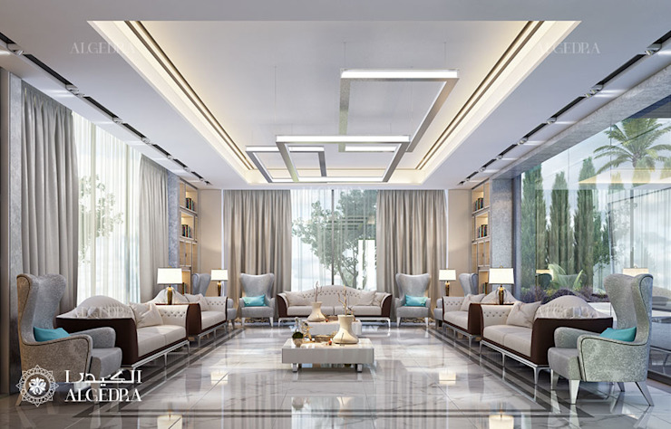Contemporary style majlis design in luxury villa 现代客厅設計點子、靈感 & 圖片 根據 Algedra Interior Design 現代風