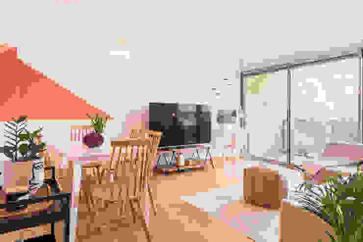 Sala comum Rima Design Salas de estar escandinavas