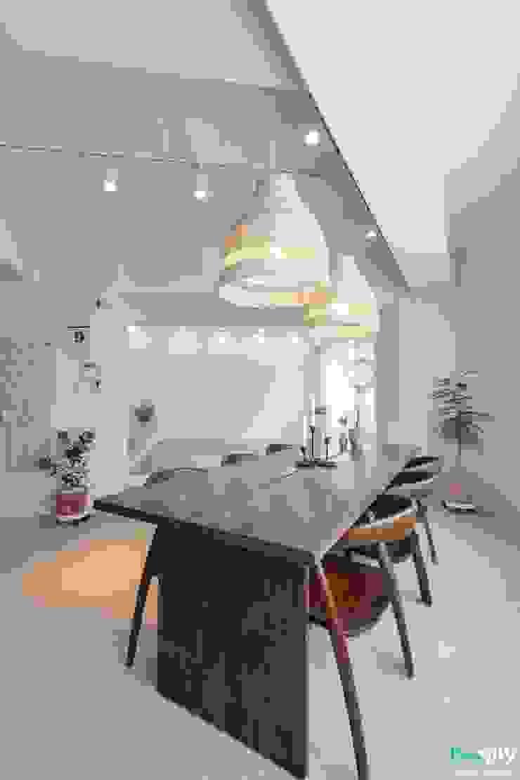 전주인테리어 모던하면서 동양적인 상가주택 인테리어 아시아스타일 다이닝 룸 by 디자인투플라이 한옥