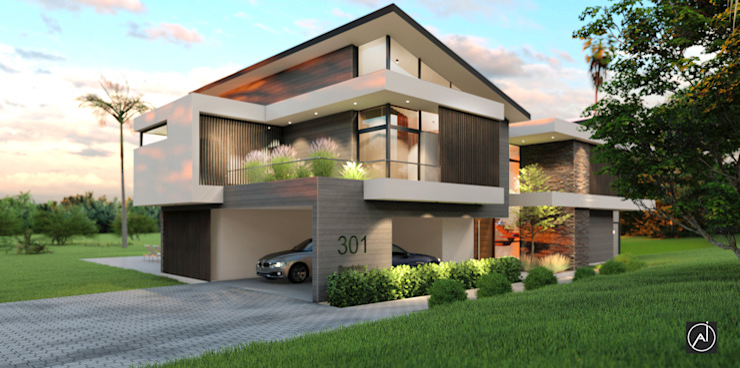 Architexture Lab Casas estilo moderno: ideas, arquitectura e imágenes Ladrillos Beige