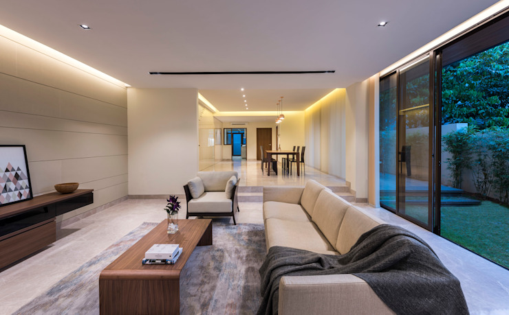 House with Screens - Living Room Modern living room by ADX Architects Pte Ltd Modern Marble
