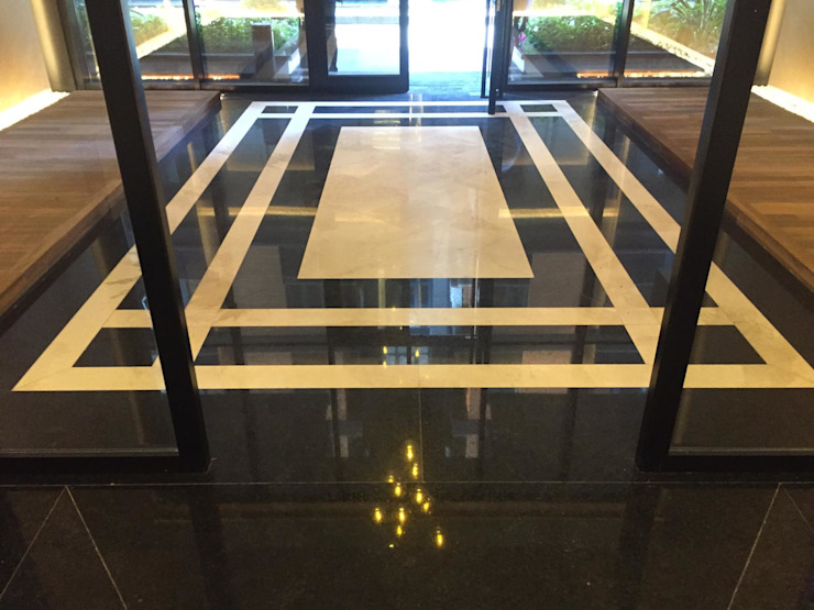 HOL MERMER GRANİT ZEMİN KAPLAMA Modern Koridor, Hol & Merdivenler MAKRO STONE Modern Mermer