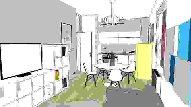 Studio 3D di cucina moderna bianca con frigo giallo di Arch. Sara Pizzo - Studio 1881 Moderno