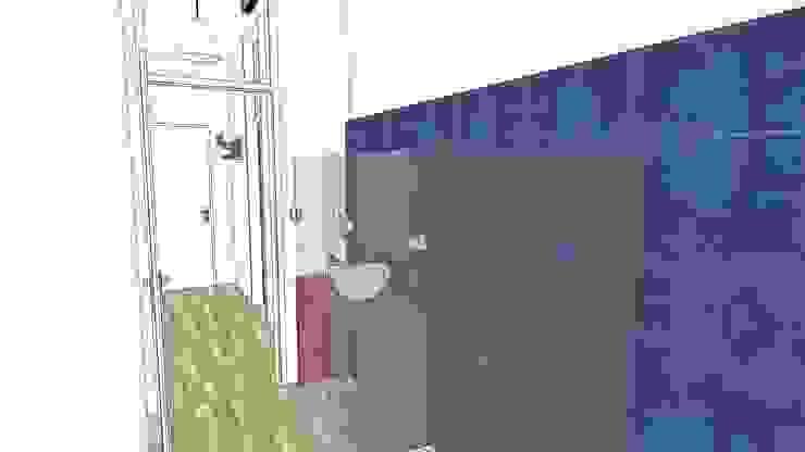 Studio 3D di bagno lungo e stretto con piastrelle blu di Arch. Sara Pizzo - Studio 1881 Moderno