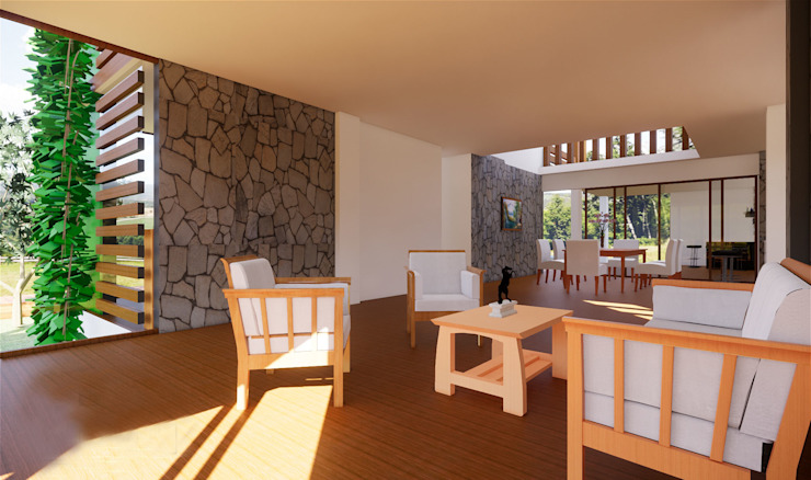 ROQA.7 ARQUITECTURA Y PAISAJE Rustic style living room