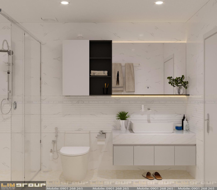Phòng WC bố trí hiện đại, tiện ích: cổ điển  by Công Ty TNHH Xây Dựng Và Thiết Kế Nội Thất Lim Group, Kinh điển MDF