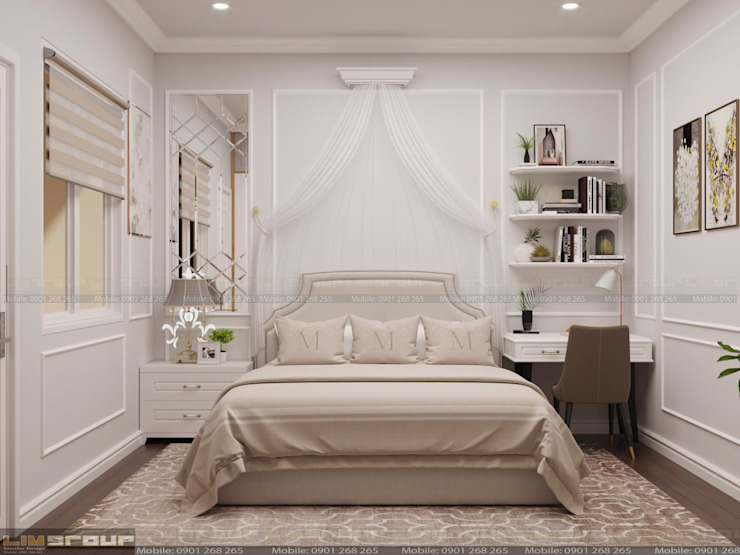 Phòng ngủ con gái: cổ điển  by Công Ty TNHH Xây Dựng Và Thiết Kế Nội Thất Lim Group, Kinh điển MDF