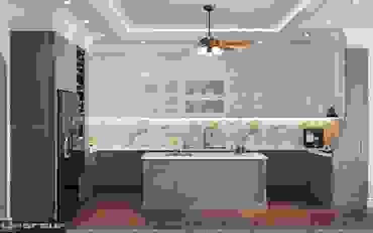 Phòng bếp tiện nghi: cổ điển  by Công Ty TNHH Xây Dựng Và Thiết Kế Nội Thất Lim Group, Kinh điển MDF