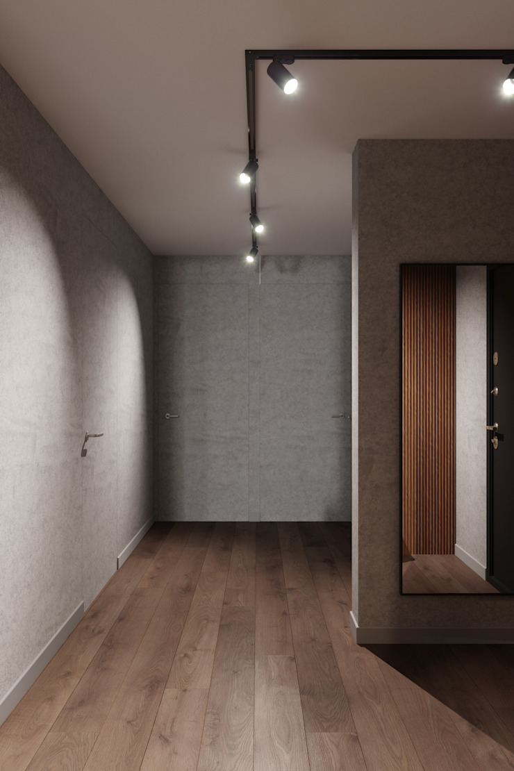 Студия архитектуры и дизайна Дарьи Ельниковой Minimalist corridor, hallway & stairs