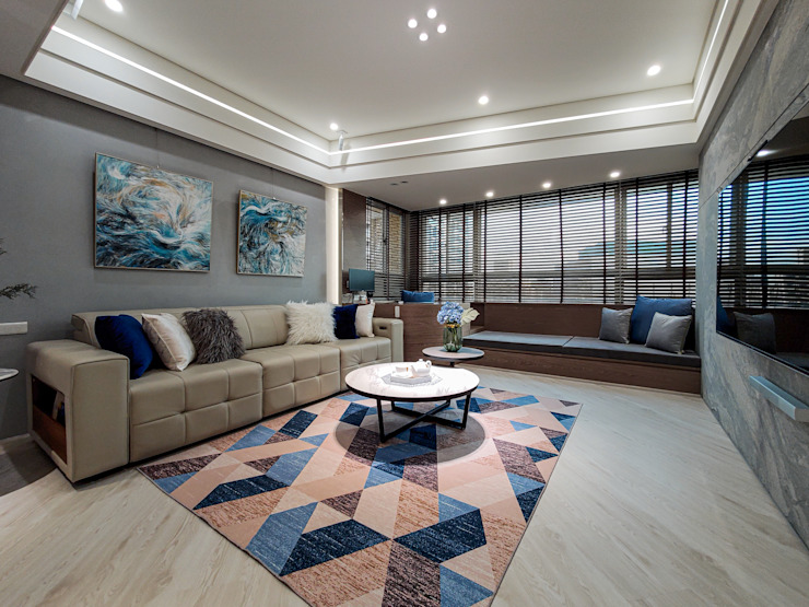客廳 现代客厅設計點子、靈感 & 圖片 根據 你你空間設計 現代風 大理石