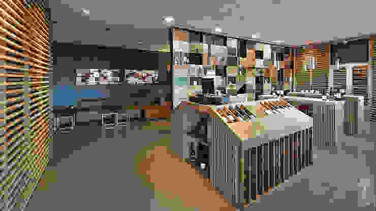 Sala de catas y zona de ventas. Al fondo, zona de espera. Espacios comerciales de estilo moderno de MEDITERRANEAN FUSION S.L. Moderno Madera Acabado en madera