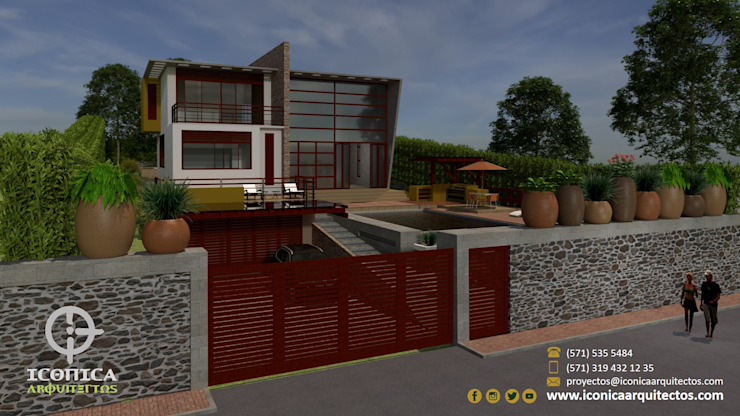 Modern Houses by Icónica Arquitectos Modern Wood-Plastic Composite