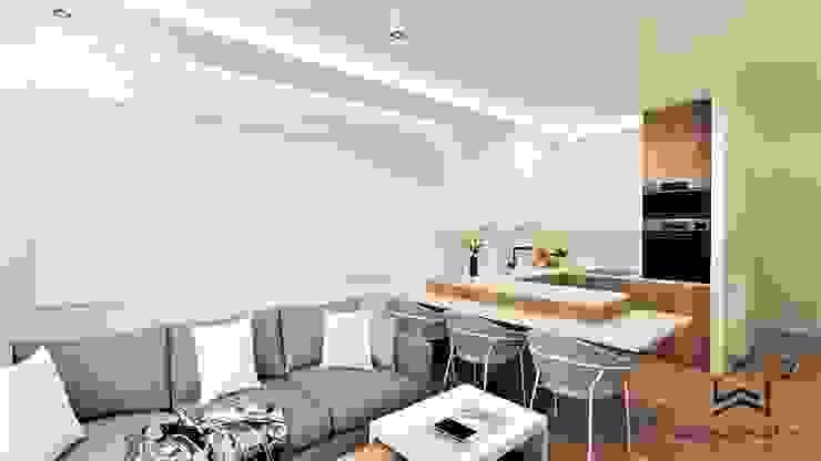 Salon z aneksem kuchennym od Wkwadrat Architekt Wnętrz Toruń Klasyczny Kamień