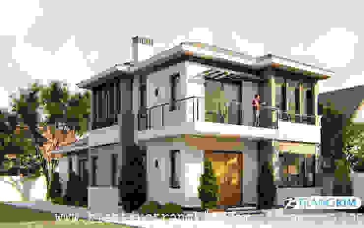 Hình ảnh phối cảnh căn biệt thự chỉ 2 tầng nhưng đẹp khó cưỡng bởi Kiến trúc Trang Kim Hiện đại