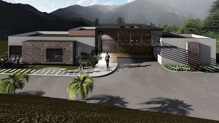 Ingreso casa- parte trasera Casas modernas de GEOARKITECTURA S.A.S. Moderno