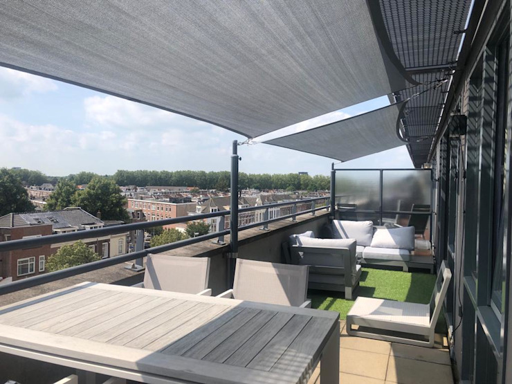 Schaduwdoeken op balkon van ZONZ sunsails Modern Kunststof