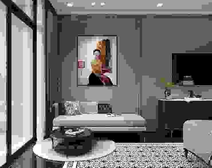 Thiết kế nội thất Studio: Phong cách Đông Dương Phòng khách phong cách châu Á bởi ICON INTERIOR Châu Á