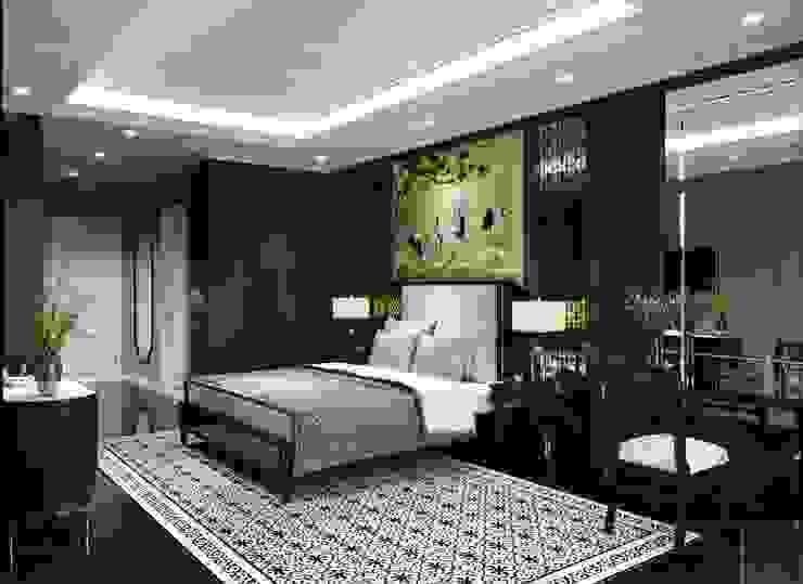 Thiết kế nội thất Studio: Phong cách Đông Dương Phòng ngủ phong cách châu Á bởi ICON INTERIOR Châu Á