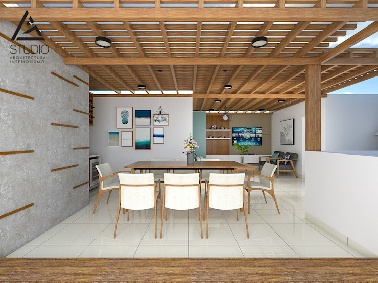 Comedor al aire libre Balcones y terrazas modernos de G2studio Moderno Concreto