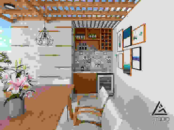 Comedor y bar empotrado Balcones y terrazas modernos de G2studio Moderno Madera Acabado en madera