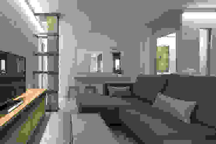 Diseño de salón tipo industrial en piso de 70m2 Salones de estilo moderno de Antonio Calzado 'NEUTTRO' Diseño Interior Moderno Hormigón