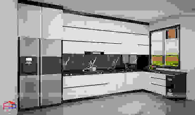Ảnh thiết kế 3D mẫu tủ bếp acrylic nhà anh Thành - Tuyên Quang Nội thất Hpro KitchenCabinets & shelves Gỗ Multicolored