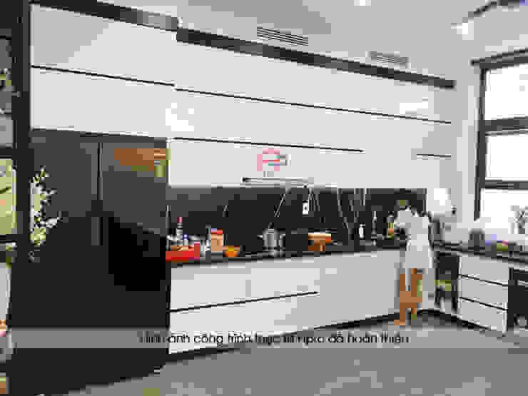 Hình ảnh thực tế tủ bếp gỗ công nghiệp kiểu hiện đại gỗ acrylic màu trắng nhà anh Thành – Tuyên Quang Nội thất Hpro KitchenCabinets & shelves Gỗ Multicolored