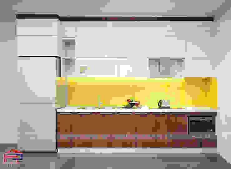 Ảnh thiết kế 3D mẫu tủ bếp gỗ acrylic Nội thất Hpro KitchenCabinets & shelves Gỗ Multicolored