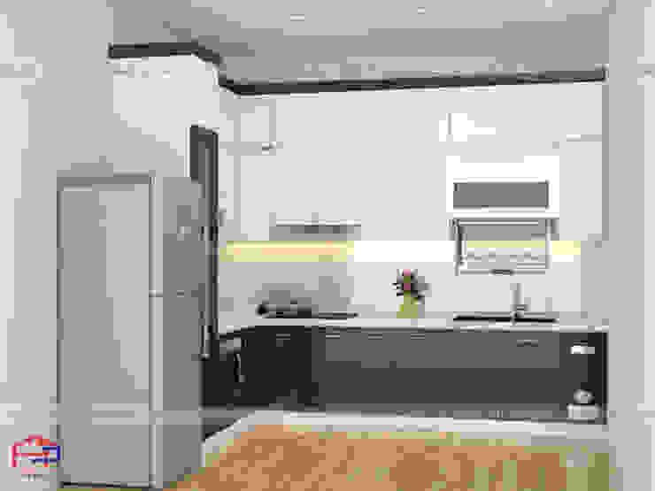 Thiết kế 3D tủ bếp gỗ công nghiệp chống nước acrylic bóng gương đẹp nhà chú Tòng , Thái Hà Nội thất Hpro KitchenCabinets & shelves Gỗ Multicolored