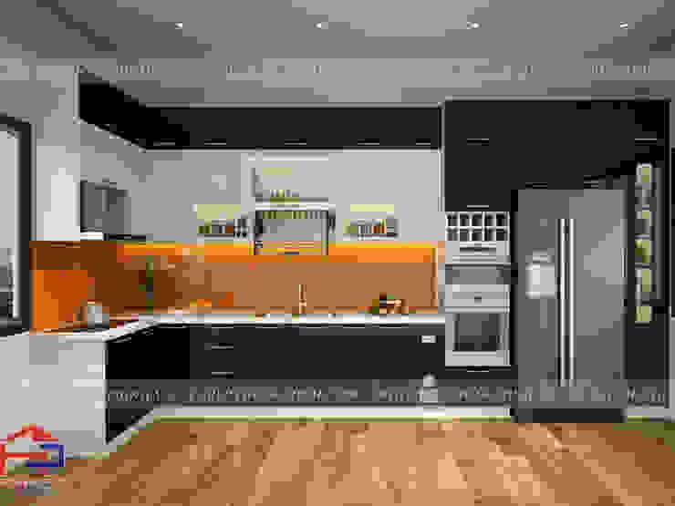 Mẫu tủ bếp acrylic kịch trần màu đen - trắng Nội thất Hpro KitchenCabinets & shelves Gỗ Multicolored