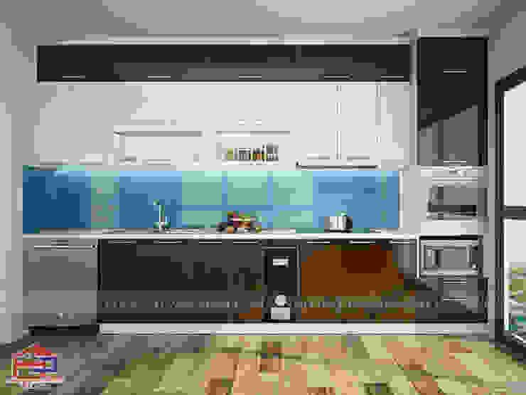 Mẫu tủ bếp acrylic đẹp chữ I kịch trần Nội thất Hpro KitchenCabinets & shelves Gỗ Multicolored