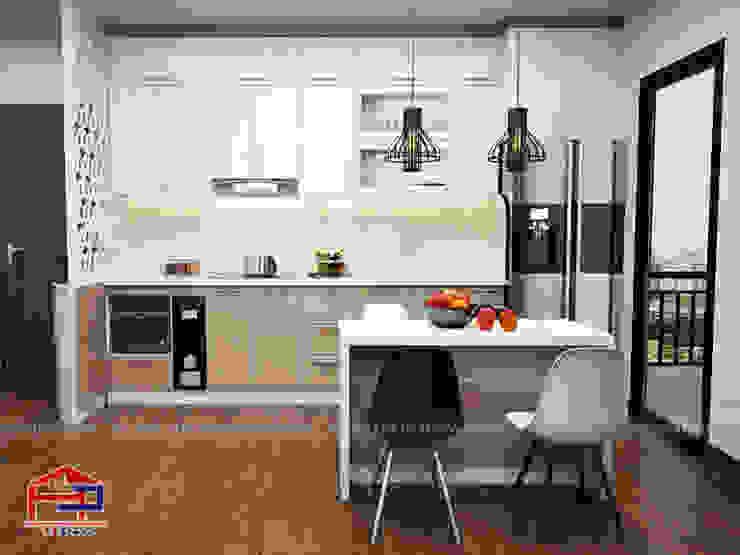 Mẫu tủ bếp acrylic chữ I kèm bàn đảo Nội thất Hpro KitchenCabinets & shelves Gỗ Multicolored