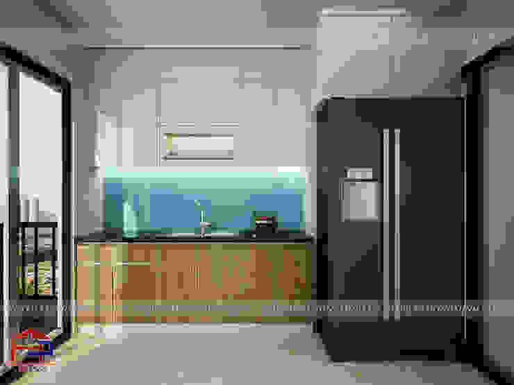 Mẫu tủ bếp acrylic song song màu trắng - vân gỗ Nội thất Hpro KitchenCabinets & shelves Gỗ Multicolored