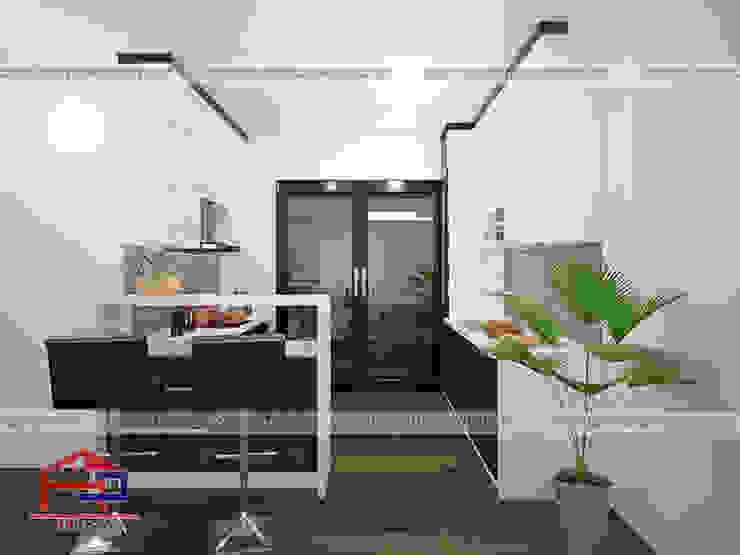 Ảnh thiết kế 3D mẫu tủ bếp acrylic nhà chị Nga - SunSquare Mỹ Đình Nội thất Hpro KitchenCabinets & shelves Gỗ Multicolored