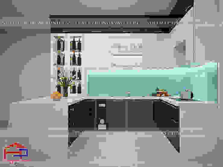 Mẫu tủ bếp acrylic thiết kế liền bàn đảo Nội thất Hpro KitchenCabinets & shelves Gỗ Multicolored