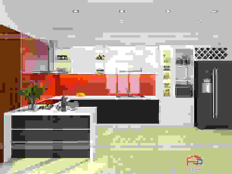 Mẫu tủ bếp acrylic thiết kế liền bàn đảo mini Nội thất Hpro KitchenCabinets & shelves Gỗ Multicolored