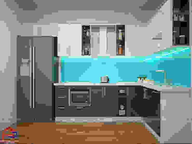Mẫu tủ bếp gỗ công nghiệp đẹp acrylic thiết kế hình chữ L Nội thất Hpro KitchenCabinets & shelves Gỗ Multicolored
