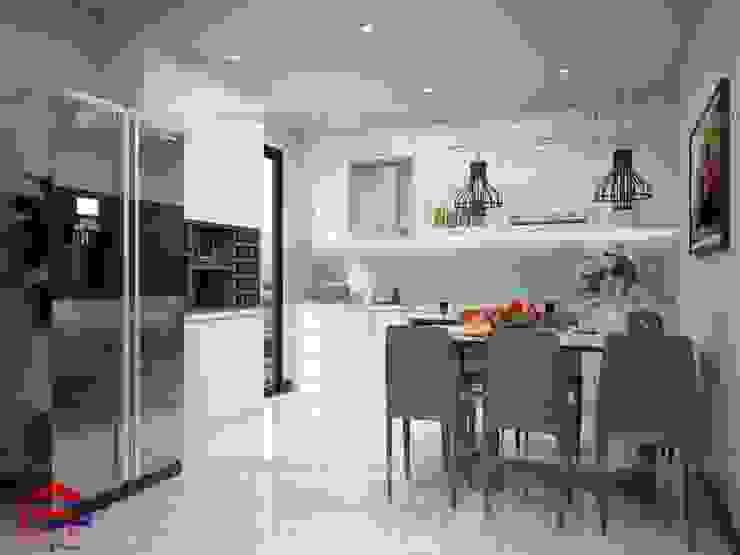 Ảnh thiết kế 3D mẫu tủ bếp acrylic nhà chú Quang - Goldmark City Nội thất Hpro KitchenCabinets & shelves Gỗ White