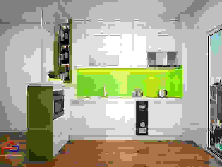 Mẫu tủ bếp gỗ công nghiệp đẹp acrylic thiết kế liền quầy bar Nội thất Hpro KitchenCabinets & shelves Gỗ Multicolored
