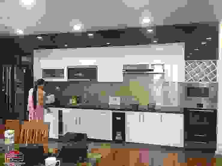 Hình ảnh thực tế bộ tủ bếp gỗ công nghiệp chất liệu acrylic tại nhà anh Thành – Mỹ Đình Nội thất Hpro KitchenCabinets & shelves Gỗ Multicolored