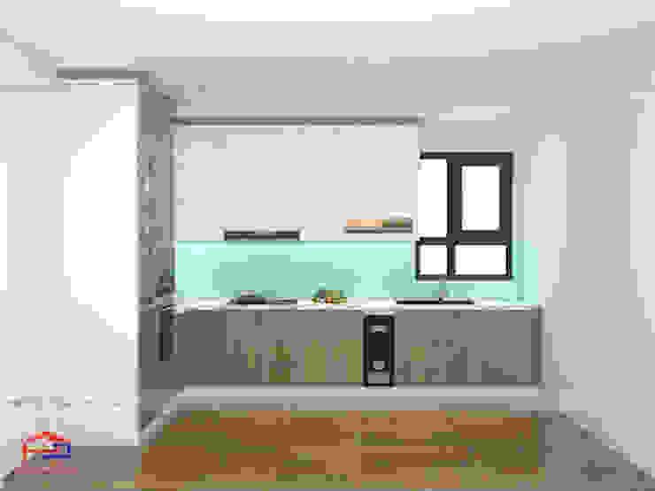 Ảnh thiết kế 3D mẫu tủ bếp acrylic nhà anh Minh - Lê Trọng Tấn Nội thất Hpro KitchenCabinets & shelves Gỗ Multicolored