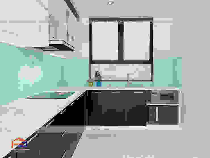 Ảnh thiết kế 3D mẫu tủ bếp acrylic nhà chị Trang - Hoàng Đạo Thúy Nội thất Hpro KitchenCabinets & shelves Gỗ Multicolored