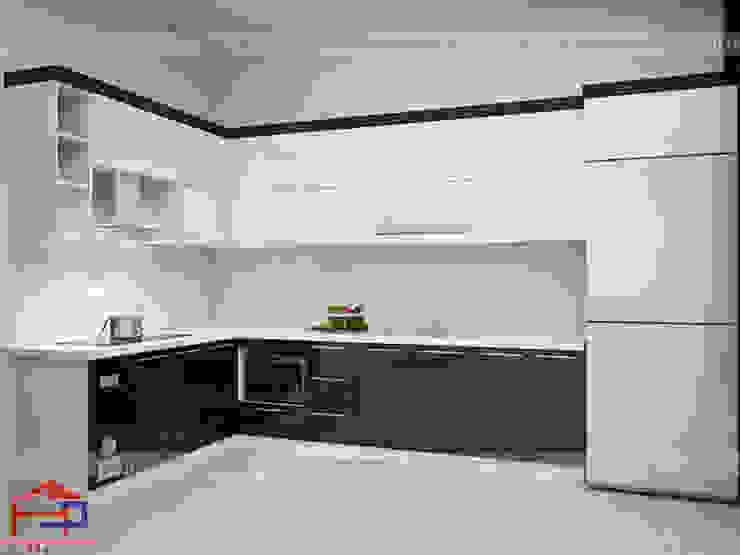 Ảnh thiết kế 3D mẫu tủ bếp acrylic chữ L nhà anh Thủy - Hải Phòng Nội thất Hpro KitchenCabinets & shelves Gỗ Multicolored